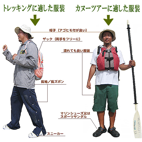 やんばる自然塾 トレッキングに適した服装、カヌーツアーに適した服装