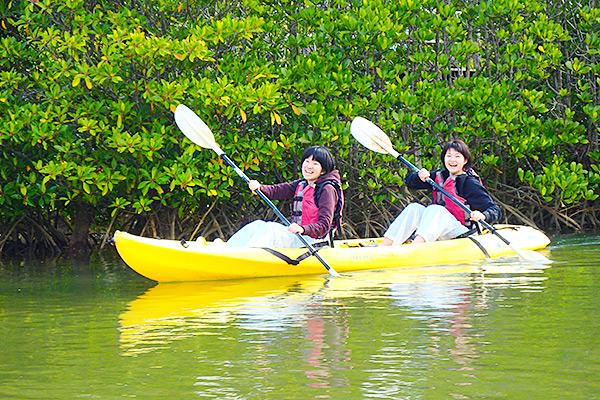 慶佐次川カヌー体験とマングローブ観察 沖縄 修学旅行