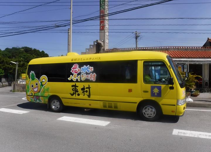 村を駆け抜けるユニークバス